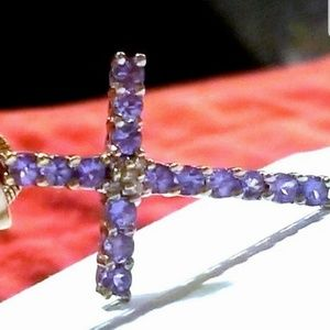 14K White Gold Real Amethyst & Diamond Cross